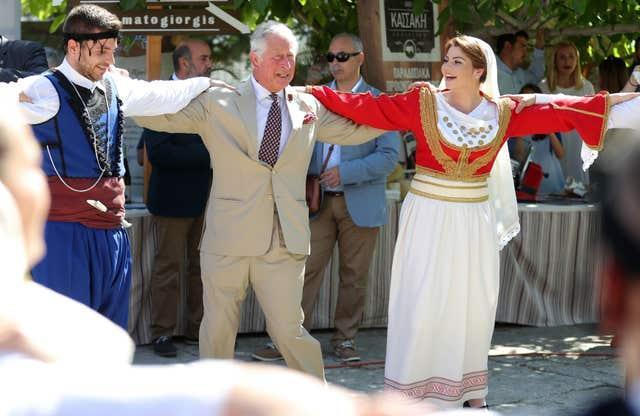 Charles on a previous visit to Greece (Andrew Matthews/PA)