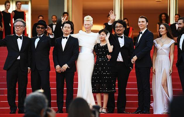 Steven with his Okja castmates at Cannes in May. Source: Getty