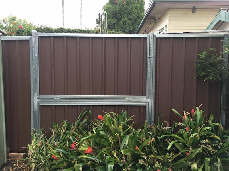 Fence with fold down section installed in Bunnings social distancing DIY