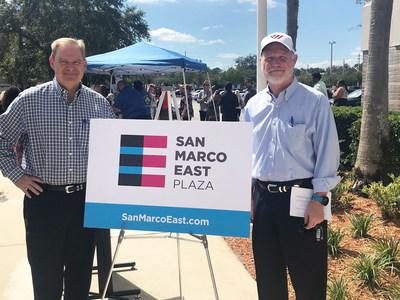 Prescott Group's Frank Cofer, Managing Director of Asset Management, and Jud Pankey, Founder & CEO, present the rebrand to San Marco East Plaza tenants.