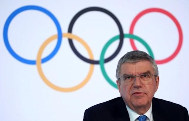 IOC President Bach attends a news conference in Lausanne