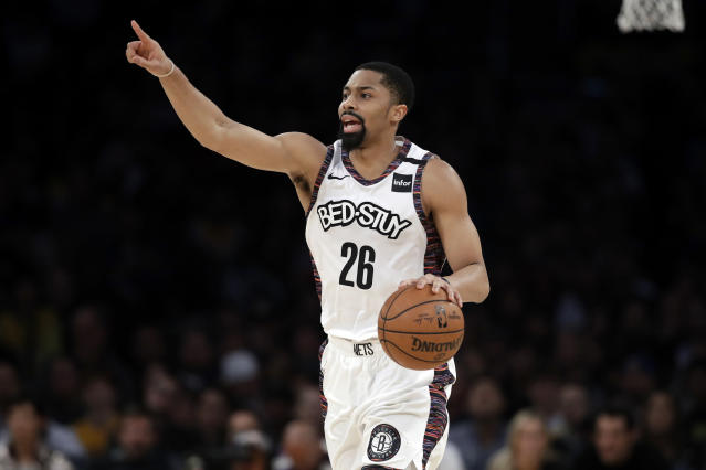 Brooklyn Nets' Spencer Dinwiddie tested positive for the coronavirus on Monday. (AP/Marcio Jose Sanchez)