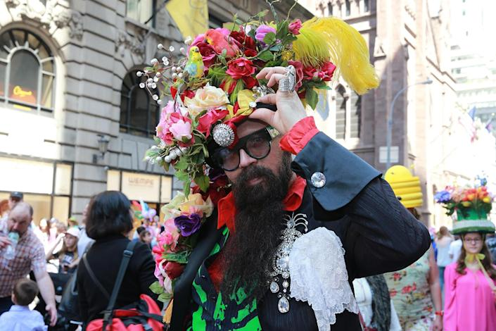 <p>A participant displays his costume during the 2017 New York City Easter Parade on April 16, 2017. (Photo: Gordon Donovan/Yahoo News) </p>