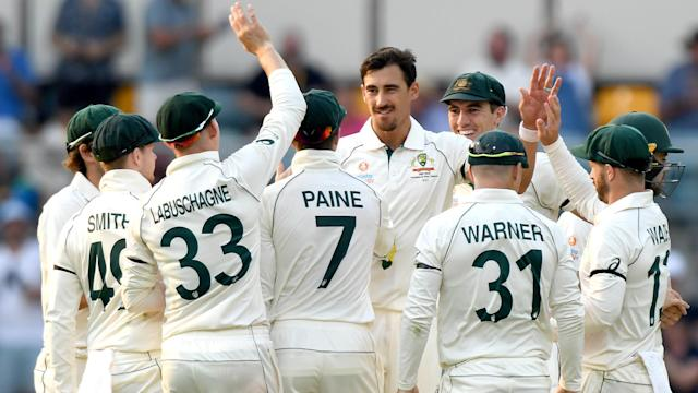 Mitchell Starc claimed four wickets and Pat Cummins finished with three as Pakistan were bowled out for 240 at the Gabba on Thursday.