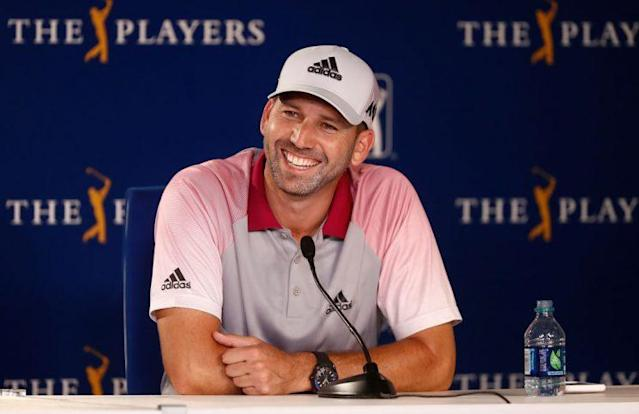 "<a class=""link rapid-noclick-resp"" href=""/pga/players/1040/"" data-ylk=""slk:Sergio Garcia"">Sergio Garcia</a> of Spain speaks to the media prior to the THE PLAYERS Championship on May 10, 2017. (Getty Images)"