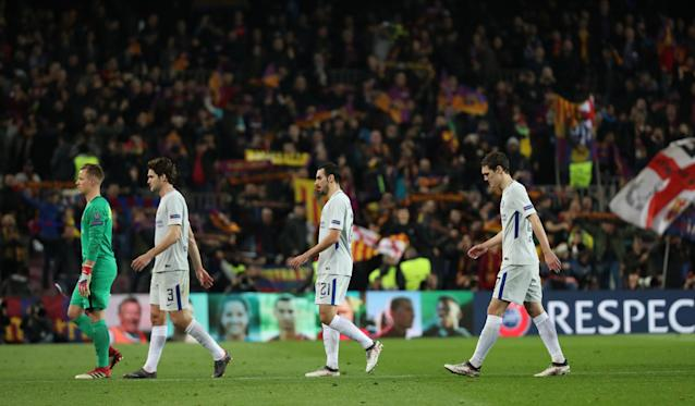 Soccer Football - Champions League Round of 16 Second Leg - FC Barcelona vs Chelsea - Camp Nou, Barcelona, Spain - March 14, 2018 (L - R) Barcelona's Marc-Andre ter Stegen and Chelsea's Marcos Alonso, Davide Zappacosta and Andreas Christensen after the match REUTERS/Susana Vera