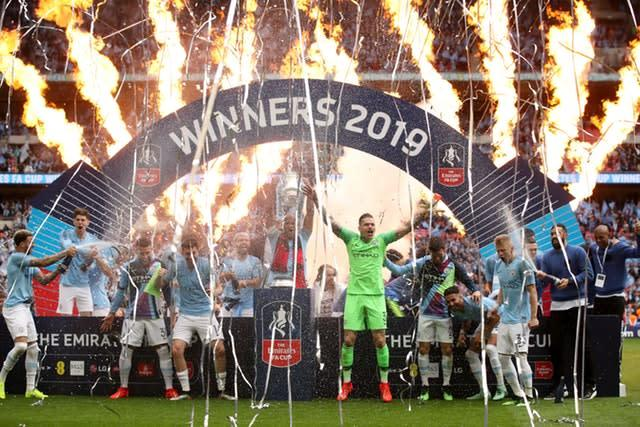 Manchester City had a clean sweep of domestic trophies in 2019 (Nick Potts/PA)