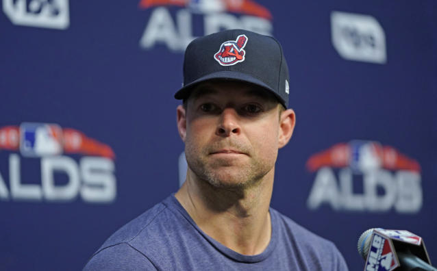 FILE - In this Oct. 4, 2018, file photo, Cleveland Indians starting pitcher Corey Kluber listens to a question during a baseball news conference in Houston. The Indians ace had the hard cast protecting his broken right arm removed and the two-time Cy Young winner is healing as hoped. Kluber underwent imaging texts Thursday, May 23, 2019, which showed that his ulna is mending. (AP Photo/David J. Phillip, File)