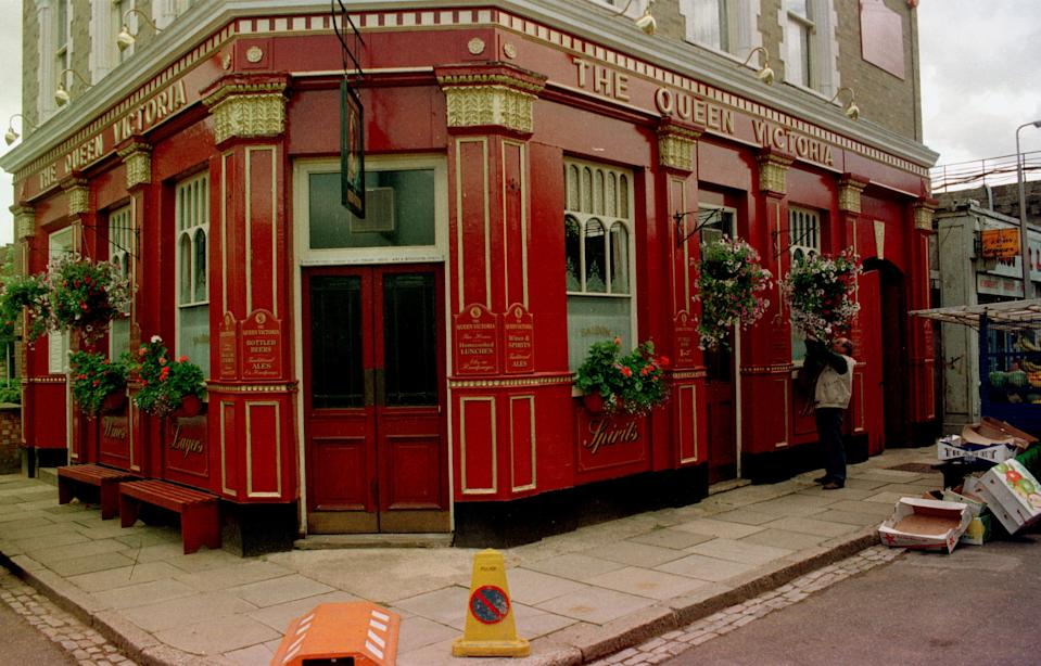 THE QUEEN VICTORIA PUBLIC HOUSE - MORE USUALLY KNOWN AS THE QUEEN VIC, ON THE EASTENDERS SET AT BBC ELSTREE.   (Photo by Ben Curtis - PA Images/PA Images via Getty Images)