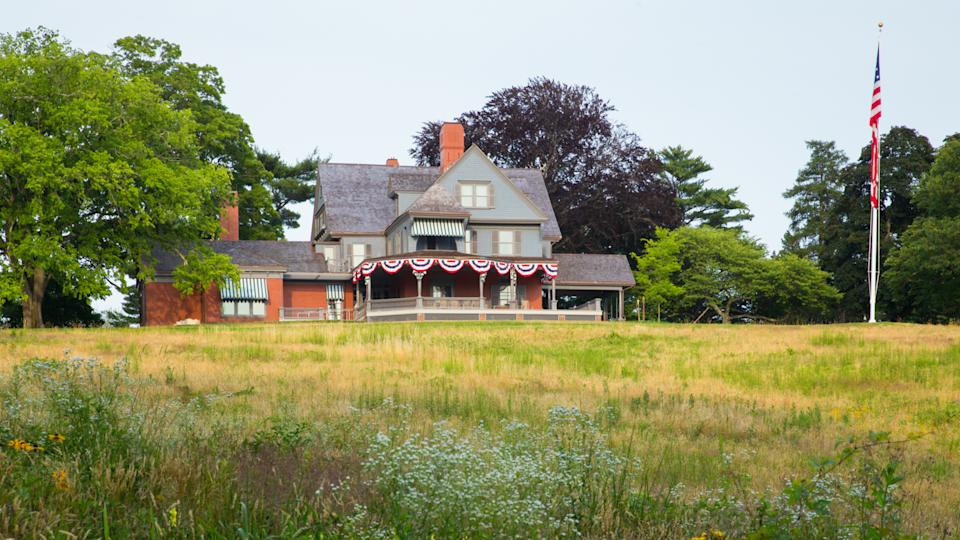 Oyster Bay, New York, USA - July 12, 2015: View of Sagamore Hill, former home of President Theodore Roosevelt.