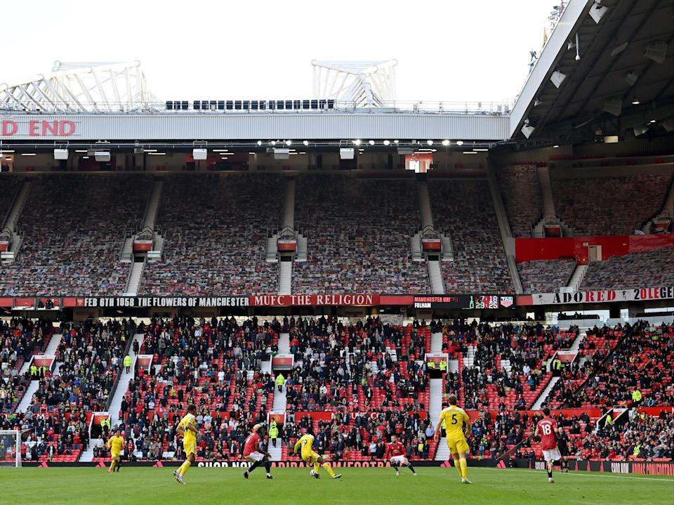 Manchester United play a Premier League match at Old Trafford in Manchester (PA)