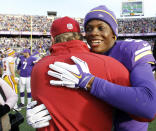 FILE - In this Nov. 2, 2014, file photo, Minnesota Vikings quarterback Teddy Bridgewater, right, hugs Washington Redskins coach Jay Gruden after an NFL football game in Minneapolis. The Vikings won 29-26, after trailing 10-0. A double-digit deficit is no longer the death knell it used to be in the NFL. (AP Photo/Ann Heisenfelt, File)