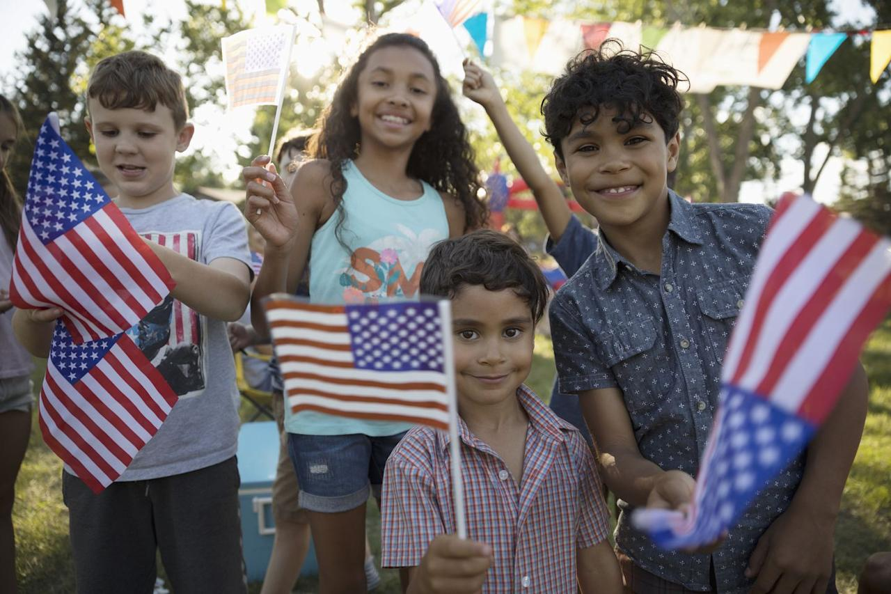 """<p>When planning a 4th of July party, you need a number of American flags present. If you're planning on hanging one in your home, remember that the stars go on the observer's left.</p><p><em><strong>What you'll need</strong>: <a href=""""https://www.amazon.com/TSMD-American-International-Decorations-Celebration/dp/B078KS8XXG/ref=sr_1_1_sspa?keywords=small+american+flags&qid=1559757724&s=gateway&sr=8-1-spons&psc=1"""" target=""""_blank"""">Stick Flags</a> ($12 for 50 flags, amazon.com)</em></p>"""