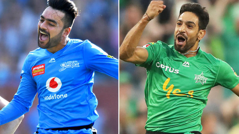 Rashid Khan and Haris Rauf, pictured here after they both took hat-tricks in the Big Bash.