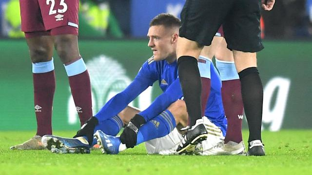 A glute problem saw Jamie Vardy withdrawn from Leicester City's Premier League match with West Ham and he will be absent against Brentford.