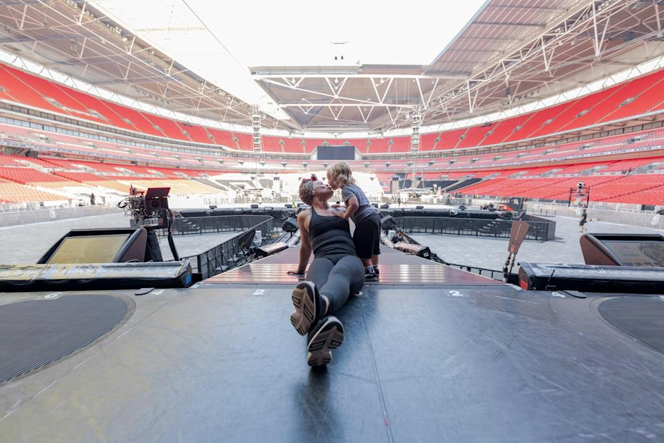 <p>Family values: Pink with her son Jameson at Wembley Stadium</p> (Andrew Macpherson/2021 Amazon)