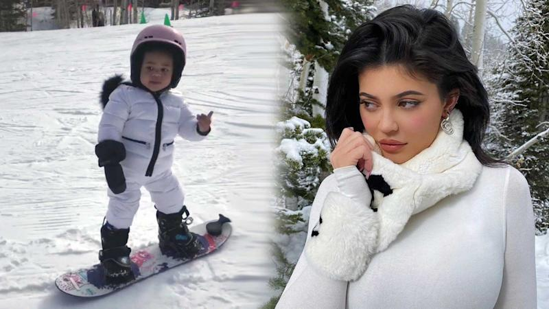 Kylie Jenner shares adorable snowboarding videos of daughter Stormi