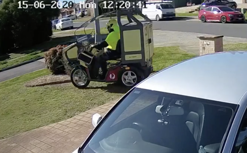 On Monday last week this postie avoided the corner and cut through the man's front yard. Source: Supplied
