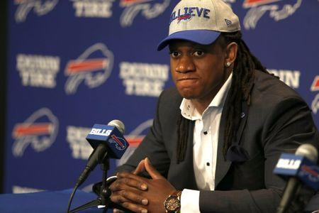 Apr 27, 2018; Orchard Park, NY, USA; Buffalo Bills first round draft pick linebacker Tremaine Edmunds during a press conference at New Era Field. Mandatory Credit: Timothy T. Ludwig-USA TODAY Sports