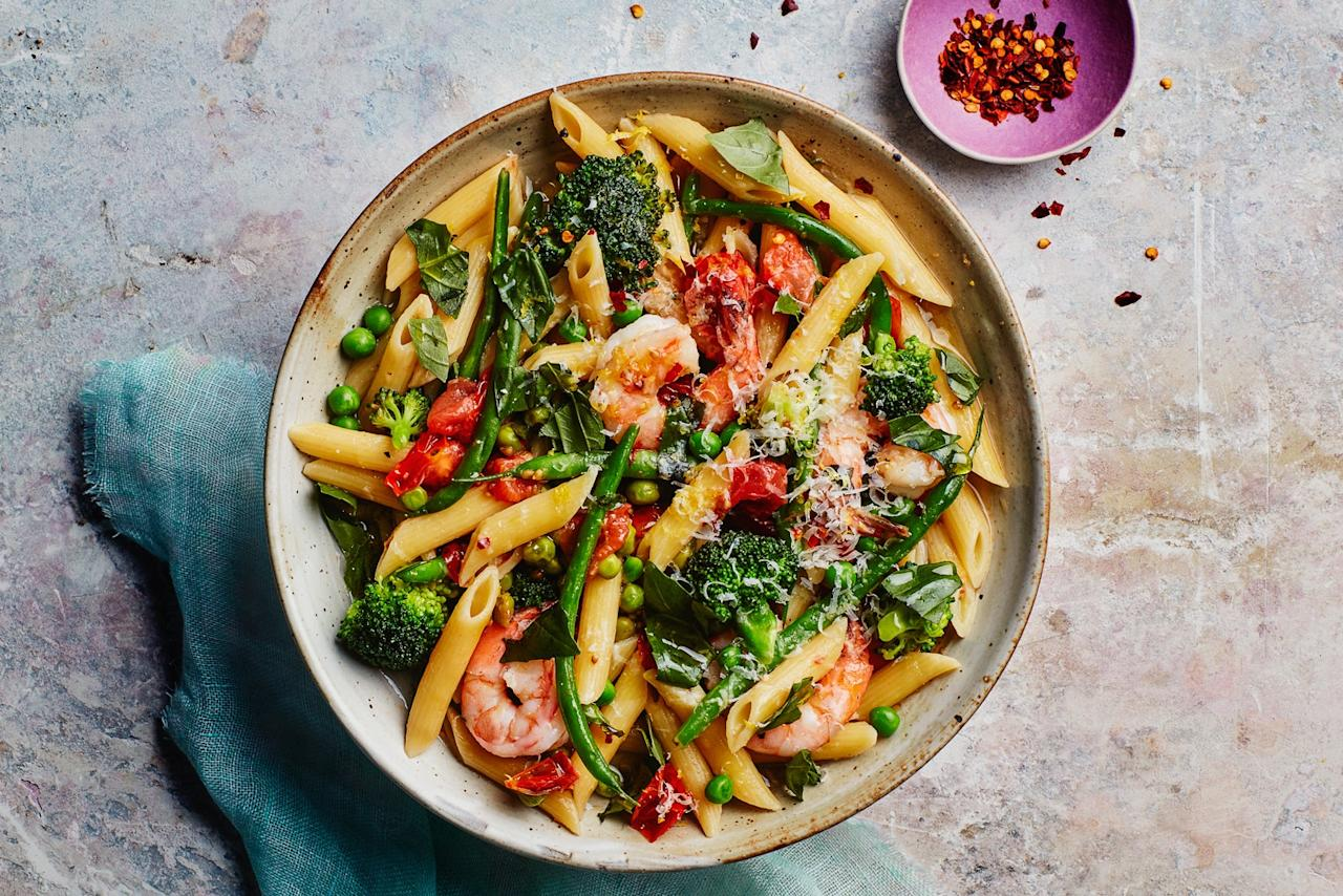"""This lightning-fast version of the classic pasta calls for just the right amount of water that magically cooks down to create a silky sauce, no draining necessary. <a href=""""https://www.epicurious.com/recipes/food/views/one-pot-pasta-primavera-with-shrimp?mbid=synd_yahoo_rss"""">See recipe.</a>"""