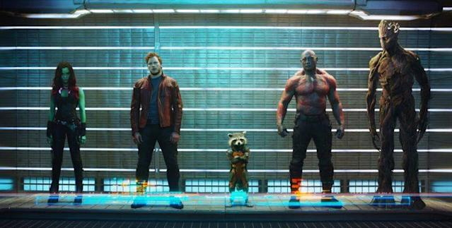 From left, <em>Guardians</em> characters Gamora (Zoe Saldana), Peter Quill/Star-Lord (Chris Pratt), Rocket Raccoon (voiced by Bradley Cooper), Drax the Destroyer (Dave Bautista), and Groot (voiced by Vin Diesel). (Photo: Film Frame/Marvel)