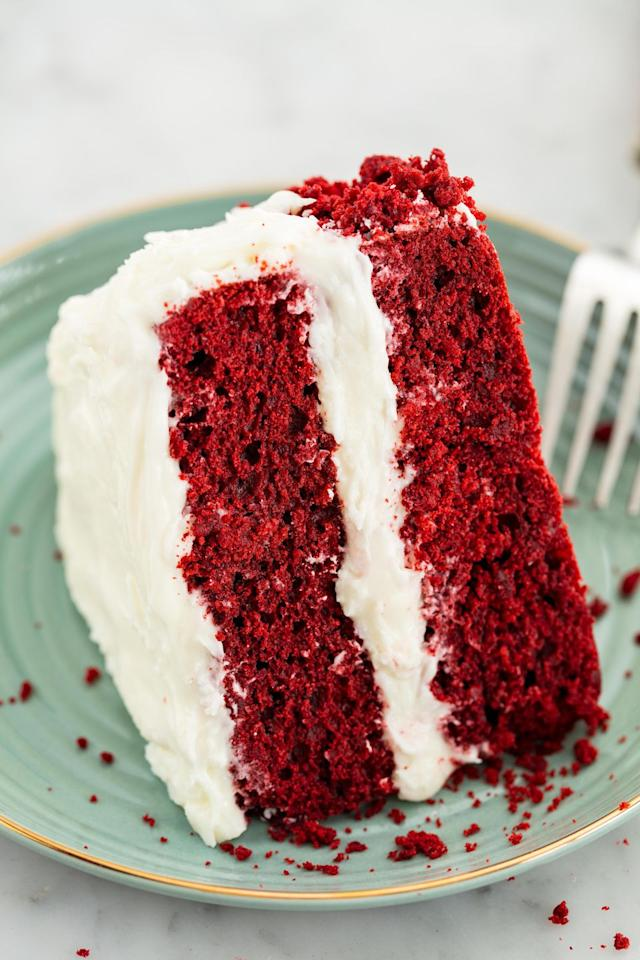 """<p>This cake is like ice cream-we want to eat it year round.</p><p>Get the recipe from <a rel=""""nofollow"""" href=""""https://www.delish.com/cooking/recipe-ideas/recipes/a58093/best-red-velvet-cake-recipe/"""">Delish</a>. </p>"""
