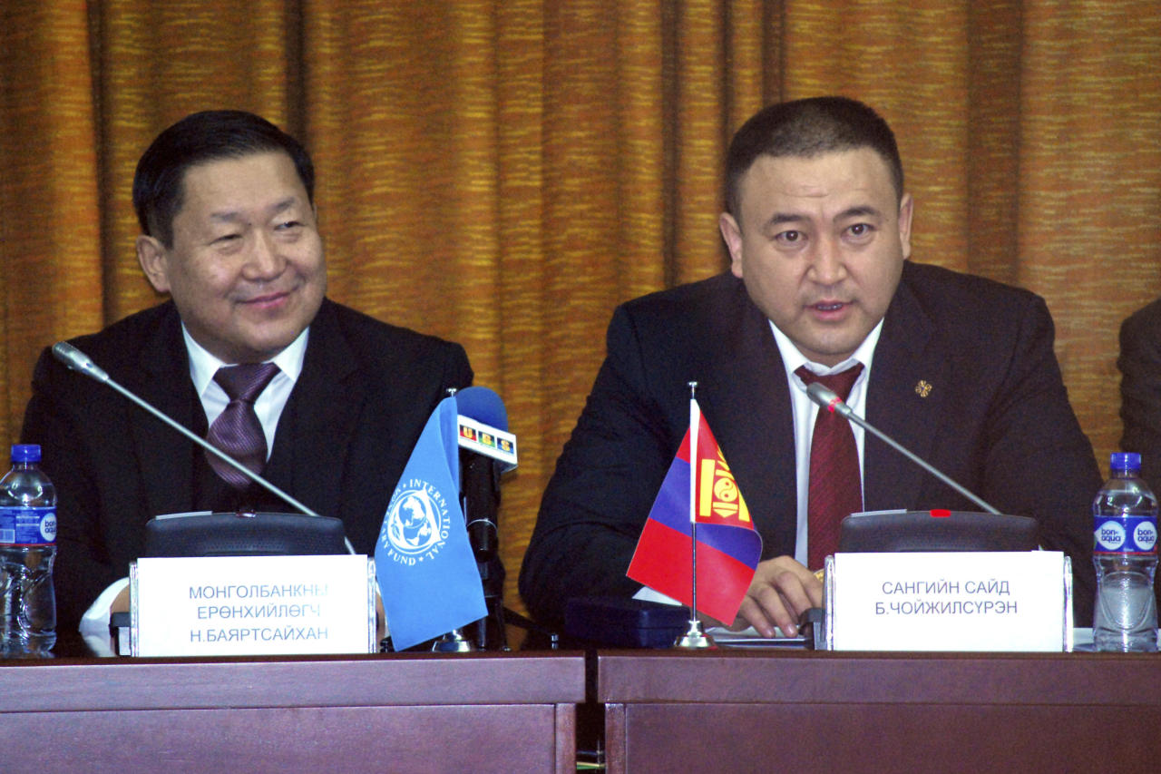 <p> Bayartsaikhan Nadmid, Governor of the Bank of Mongolia, left, listens as Choijilsuren Battogtokh, Mongolia's Minister of Finance, right, speaks at a press conference in Ulaanbaatar, Mongolia, Sunday, Feb. 19, 2017. The Mongolian government and envoys from the International Monetary Fund said Sunday that they and other partners have agreed on terms for a more than $5 billion loan package to the north Asian country to help get its economy back on track. (AP Photo/Ganbat Namjilsangarav) </p>