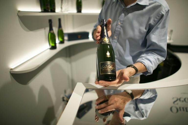 """A bottle of Pol Roger champagne, Churchill's favorite, in the recreated """"Ari's Bar"""""""