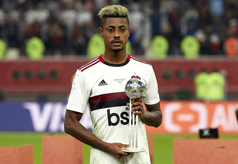 DOHA, QATAR - DECEMBER 21: Bruno Henrique of CR Flamengo is presented with the Adidas Silver Ball award following the FIFA Club World Cup Qatar 2019 Final match between Liverpool FC and CR Flamengo at Khalifa International Stadium on December 21, 2019 in Doha, Qatar. (Photo by Quality Sport Images/Getty Images)