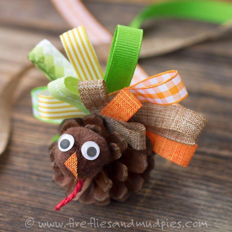 """<p>Scavenge your backyard for pine cones until you find the perfect assortment to dress up as little turkeys. </p><p><em><a href=""""http://www.firefliesandmudpies.com/2015/10/25/scrap-ribbon-pinecone-turkeys/"""" rel=""""nofollow noopener"""" target=""""_blank"""" data-ylk=""""slk:Get the tutorial at Fireflies + Mud Pies »"""" class=""""link rapid-noclick-resp"""">Get the tutorial at Fireflies + Mud Pies »</a></em> </p>"""