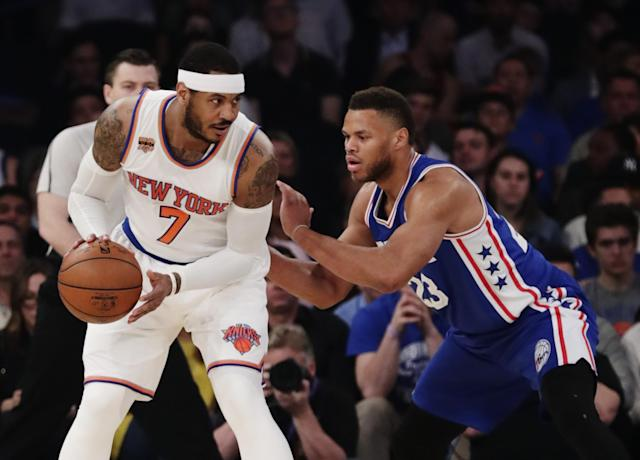 Carmelo Anthony may not be around to isolate with the Knicks next season. (AP)