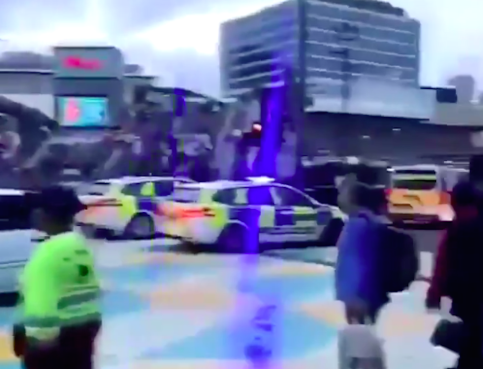 Police at the scene of the violence in Stratford on Saturday night (Picture: @999London)