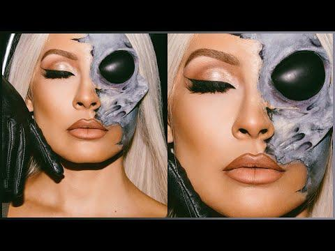 """<p>Okay, so <strong>this maybe isn't a look that you can just throw together on Halloween at six and expect it to be ready by eight</strong>. But I couldn't not acknowledge how freaking cool this FX makeup is. Watch this tutorial just to get into the alien ~mood~.</p><p><a href=""""https://www.youtube.com/watch?v=3GGTp-kJm44"""" rel=""""nofollow noopener"""" target=""""_blank"""" data-ylk=""""slk:See the original post on Youtube"""" class=""""link rapid-noclick-resp"""">See the original post on Youtube</a></p>"""