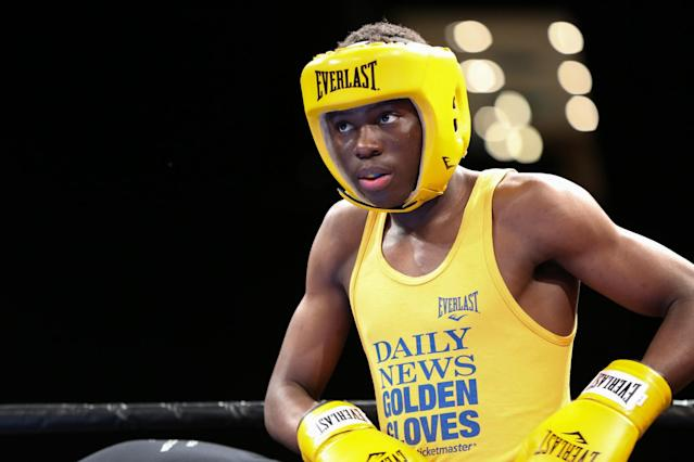 """<a class=""""link rapid-noclick-resp"""" href=""""/olympics/rio-2016/a/1181673/"""" data-ylk=""""slk:Richardson Hitchins"""">Richardson Hitchins</a> fought in the New York Golden Gloves tournament in April. (AP)"""