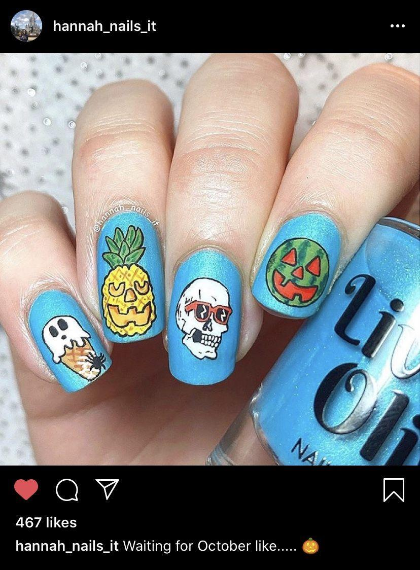 """<p>Tired of traditional Halloween colors? Get inspired by <a href=""""https://www.instagram.com/hannah_nails_it/"""" rel=""""nofollow noopener"""" target=""""_blank"""" data-ylk=""""slk:manicure artist @hannah_nails_it"""" class=""""link rapid-noclick-resp"""">manicure artist @hannah_nails_it</a> who painted this colorful, pop-art look that still feels on theme.</p><p><a class=""""link rapid-noclick-resp"""" href=""""https://go.redirectingat.com?id=74968X1596630&url=https%3A%2F%2Fwww.etsy.com%2Flisting%2F974809201%2Fpastel-smiley-faces-good-vibes-nails&sref=https%3A%2F%2Fwww.oprahdaily.com%2Fbeauty%2Fskin-makeup%2Fg33239588%2Fhalloween-nail-ideas%2F"""" rel=""""nofollow noopener"""" target=""""_blank"""" data-ylk=""""slk:SHOP PRESS ONS"""">SHOP PRESS ONS</a></p>"""