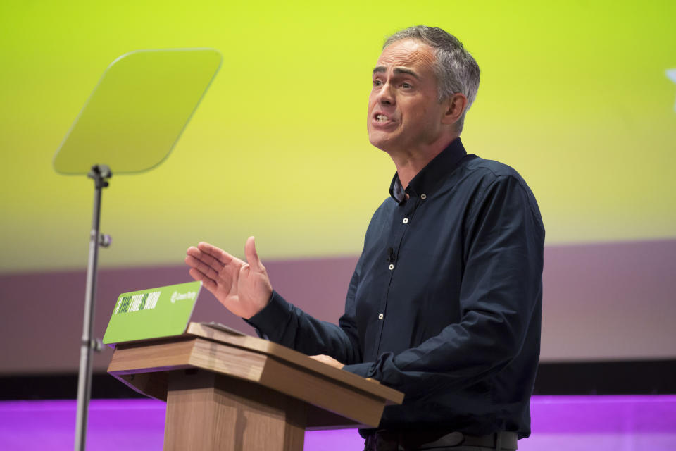 NEWPORT, WALES - OCTOBER 04: Green Party co-leader Jonathan Bartley speaks during the Green Party Autumn Conference on October 4, 2019 in Newport, Wales. The Green Party gained nearly 200 new councillors during the local elections in May, taking the number to 362 councillors on 122 councils, and saw its number of MEPs rise from three to seven. The party opposes Brexit and supports a second referendum. (Photo by Matthew Horwood/Getty Images)