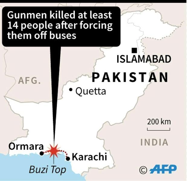 Map of Pakistan showing the route between Ormara and Karachi where gunmen killed 14 people after forcing them off buses