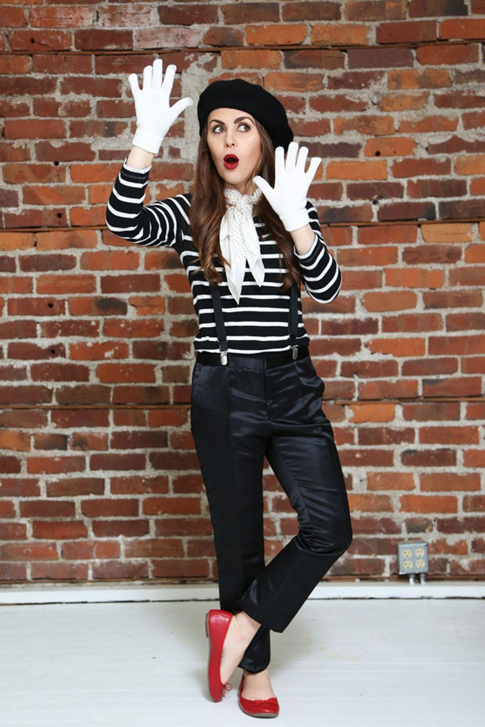 """<p>Think outside the box (and then act within it) with this clever costume.</p><p><strong>Get the tutorial at <a href=""""http://dresscorilynn.com/2014/10/29/fyc-halloween-french-mime/"""" rel=""""nofollow noopener"""" target=""""_blank"""" data-ylk=""""slk:Dress Cori Lynn"""" class=""""link rapid-noclick-resp"""">Dress Cori Lynn</a>.</strong></p><p><strong><a class=""""link rapid-noclick-resp"""" href=""""https://www.amazon.com/Kangaroo-Wool-Black-Beret-Hat/dp/B00SUMGC5M/ref=sr_1_2?dchild=1&keywords=black+beret&qid=1624891954&sr=8-2&tag=syn-yahoo-20&ascsubtag=%5Bartid%7C10050.g.4571%5Bsrc%7Cyahoo-us"""" rel=""""nofollow noopener"""" target=""""_blank"""" data-ylk=""""slk:SHOP BERETS"""">SHOP BERETS</a><br></strong></p>"""