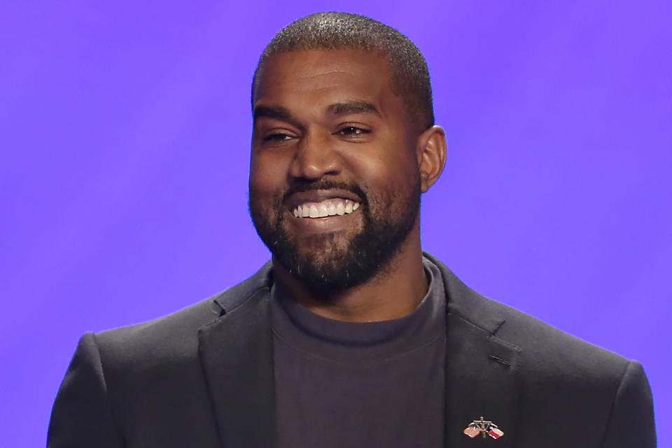 FILE - In this Nov. 17, 2019, file photo, Kanye West appears on stage during a service at Lakewood Church in Houston. In close elections, it doesn't take much for third-party candidates to play an outsize role, as Democrats learned the hard way in 2016. West has launched a scattershot 2020 presidential campaign that many of President Donald Trump's allies believe could siphon votes away from former Vice President Joe Biden. (AP Photo/Michael Wyke, File)