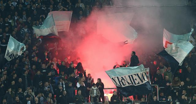 Soccer Football - Europa League - HNK Rijeka vs AC Milan - Stadion HNK Rijeka, Rijeka, Croatia - December 7, 2017 Fans with flares during the match REUTERS/Antonio Bronic