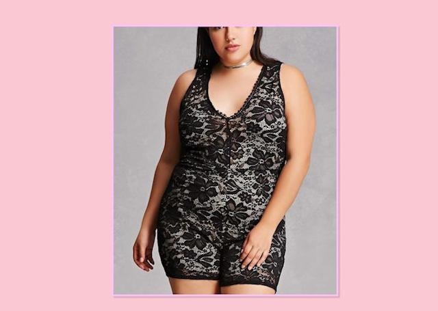 "<p>Plus-Size Lace Romper, $48, <a href=""http://www.forever21.com/Product/Product.aspx?BR=plus&Category=plus_size-rompers-jumpsuits&ProductID=2000133887&VariantID=012"" rel=""nofollow noopener"" target=""_blank"" data-ylk=""slk:Forever 21"" class=""link rapid-noclick-resp"">Forever 21 </a> </p>"