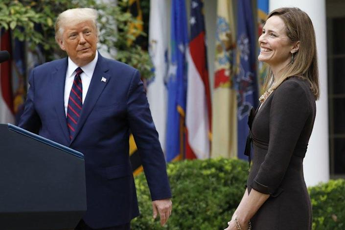 President Trump introduces Amy Coney Barrett as his Supreme Court nominee on Saturday.
