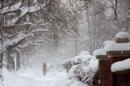 A woman walks in the snow during a winter storm in Buffalo, New York, U.S., January 31, 2019. REUTERS/Lindsay DeDario