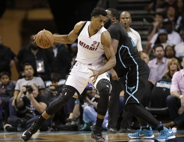 "<a class=""link rapid-noclick-resp"" href=""/nba/players/4764/"" data-ylk=""slk:Hassan Whiteside"">Hassan Whiteside</a> affects both ends of the floor. (AP)"