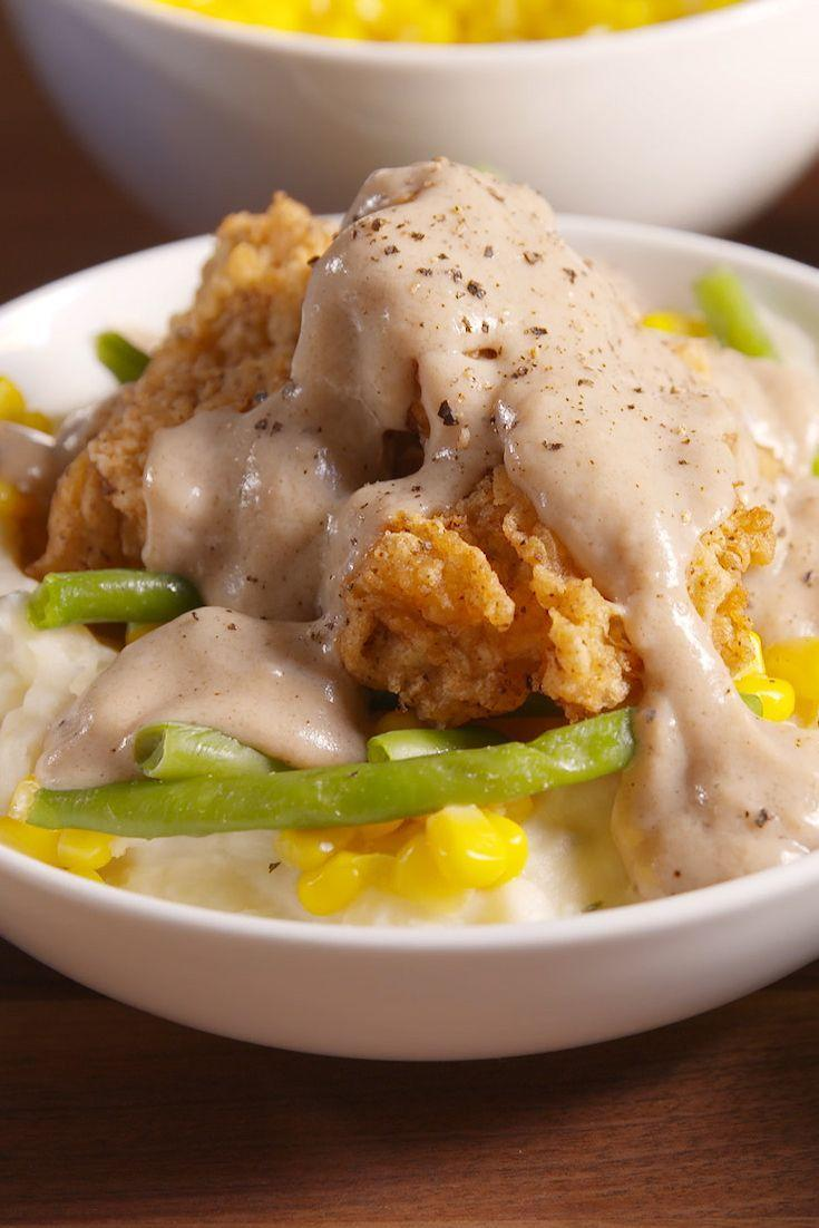 """<p>It's all of your fave comfort foods in one bowl.</p><p>Get the recipe from <a href=""""https://www.delish.com/cooking/recipes/a51120/chicken-fried-steak-bowl-recipe/"""" rel=""""nofollow noopener"""" target=""""_blank"""" data-ylk=""""slk:Delish"""" class=""""link rapid-noclick-resp"""">Delish</a>.</p>"""