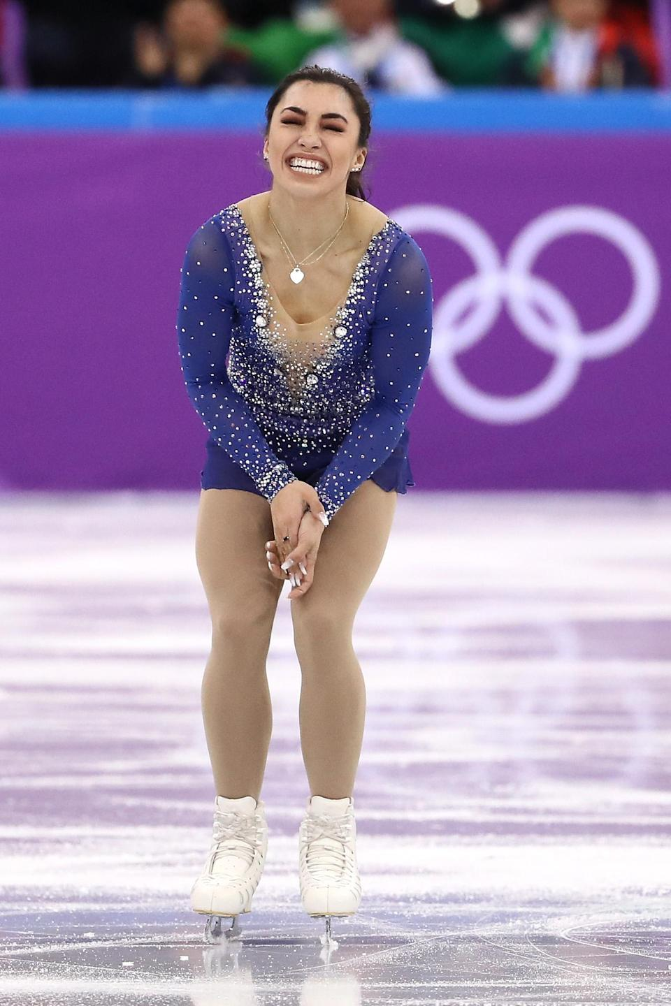 <p>Gabrielle Daleman of Canada reacts after her routine in the Figure Skating Team Event ? Ladies? Single Free Skating on day three of the PyeongChang 2018 Winter Olympic Games at Gangneung Ice Arena on February 12, 2018 in Gangneung, South Korea. (Photo by Jamie Squire/Getty Images) </p>