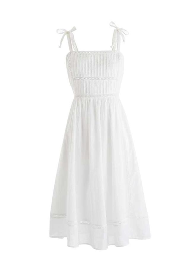 White pin-tucked bodice boho dress. (Photo: J.Crew)