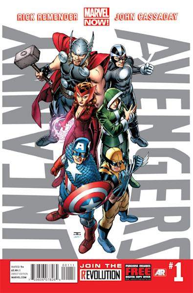 "This comic image released by Marvel Entertainment shows the cover of the upcoming ""Uncanny Avengers,"" part of Marvel Comics' new initiative aimed at recharging the publisher's heroes and villains. (AP Photo/Marvel Entertainment)"