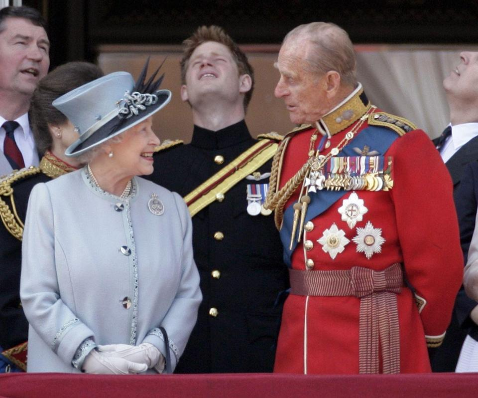 <p>In high spirits on the balcony of Buckingham Palace after Trooping the Colour.</p>