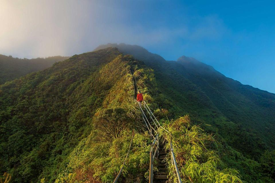 """<p>These steep stairs, referred to as the """"Stairway to Heaven,"""" are on the island of Oahu in Hawaii. Running along the Ko'olau Mountain Range, it spans a total of 3,922 steps. While it's technically closed to the public with """"No Trespassing"""" signs, it seems that many people climb on them anyway for this once-in-a-lifetime excursion. </p>"""
